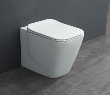 Mineraal gegoten toiletpot staand TMS-601P Glanzend wit