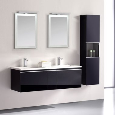 Badkamermeubelset 120x45x48cm Wit incl. spiegel - Milano 1200pro4 STONEART