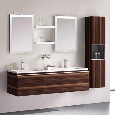 Badkamermeubelset wastafelmeubel incl. spiegel 120x45x48cm Wit - Milano ME-1200pro-6 STONEART