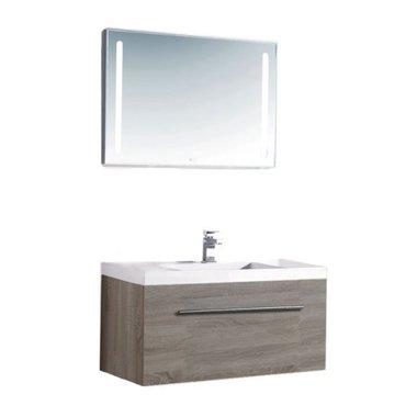 Badkamermeubelset wastafelmeubel incl. spiegel 160x45x48cm Wit - Milano ME-1600pro-1 STONEART