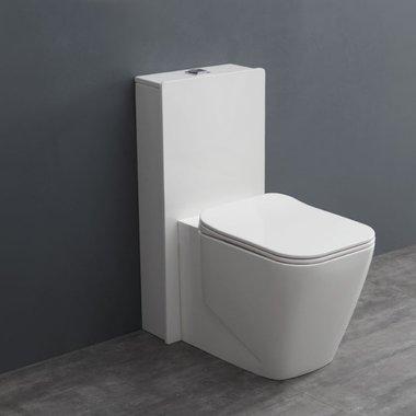 Mineraal gegoten toiletpot staand TMS-301P Glanzend wit