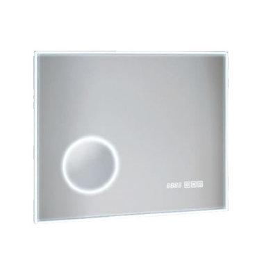 LED badkamerspiegel 70x50cm met aan/uit touch sensor, spiegelverwarming en digitale klok - Fabriano Eastbrook