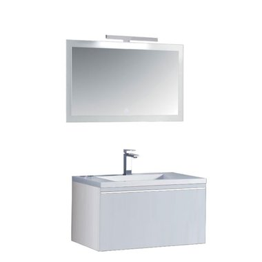Milano badkamerkast ME-0800 wit 80x45 inclusief wasbak en LED badkamer spiegel met verlichting