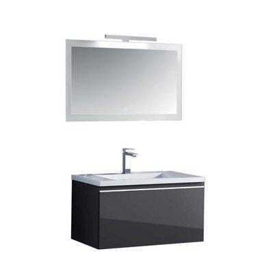 Milano badkamermeubel set ME-0800 donkergrijs 80x45 inclusief wastafel en LED badkamerspiegel met verlichting