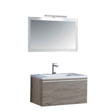 Milano wastafelmeubel ME-0800 Licht eiken 80x45 inclusief wasbak en LED badkamerspiegel met verlichting