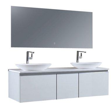 Badkamermeubelset wastafelmeubel incl. spiegel 160x45x48cm Wit - Milano ME-1600pro-3 STONEART