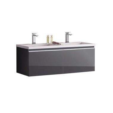 Badkamermeubel wastafel onderkast 120x45x48cm Donker grijs - Milano ME-1200 STONEART