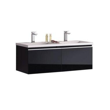 Badkamermeubel wastafel onderkast 120x45x48cm Zwart - Milano ME-1200 STONEART
