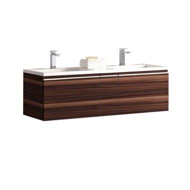 Badkamermeubel wastafel onderkast 140x45x48cm Bruin - Milano ME-1400 STONEART