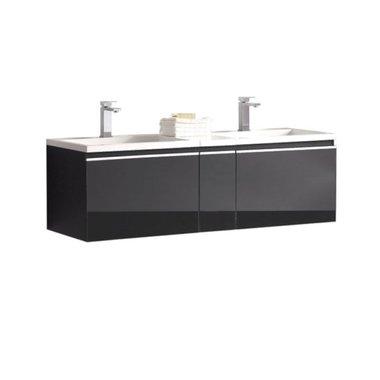 Badkamermeubel wastafel onderkast 140x45x48cm Donker grijs - Milano ME-1400 STONEART