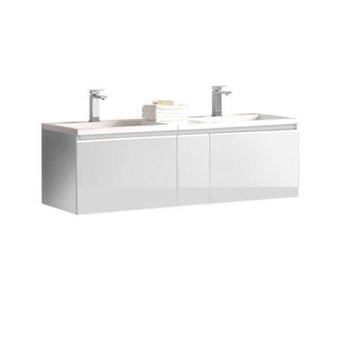 Badkamermeubel wastafel onderkast 140x45x48cm Wit - Milano ME-1400 STONEART