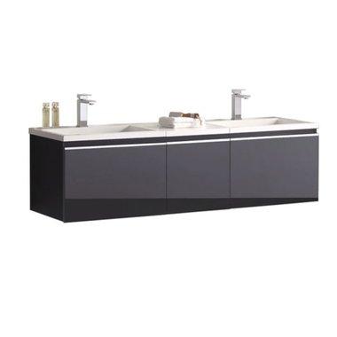 Badkamermeubel wastafel onderkast 160x45x48cm Donker grijs - Milano ME-1600 STONEART