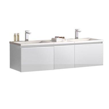 Badkamermeubel wastafel onderkast 160x45x48cm Wit - Milano ME-1600 STONEART