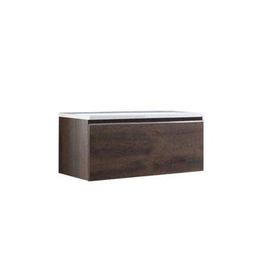 Badkamermeubel wastafel onderkast 100x45x48cm Donker eiken - Milano ME-1000pro STONEART