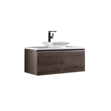 Badkamermeubel wastafel onderkast 100x45x48cm Donker eiken houtkleur incl. waskom - Milano ME-1000pro-2 STONEART