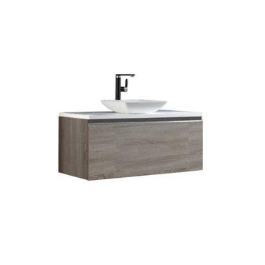 Badkamermeubel wastafel onderkast 100x45x48cm licht eiken houtkleur incl. waskom - Milano ME-1000pro-2 STONEART
