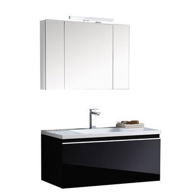 Badkamermeubelset wastafelmeubel incl. spiegel 100x45x48cm Zwart - Milano ME-1000+ EAGO