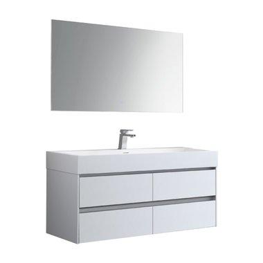 Badkamermeubelset met wastafel incl. led spiegel Mailand ML-1200 Mat Wit 120x48cm - StoneArt