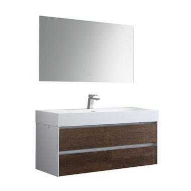 Badkamermeubelset met wastafel incl. led spiegel Mailand ML-1200 Donker eiken houtkleur 120x48cm - StoneArt