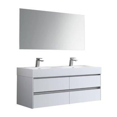 Badkamermeubelset met 2 wastafels incl. led spiegel Mailand ML-1400 Hoogglans Wit 140x48cm - StoneArt