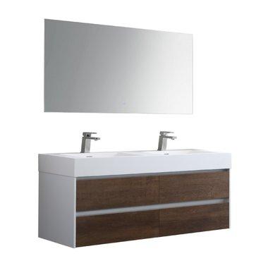Badkamermeubelset met 2 wastafels incl. led spiegel Mailand ML-1400 Donker eiken houtkleur 140x48cm - StoneArt