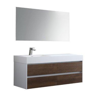 Badkamermeubelset met wastafel links incl. led spiegel Mailand ML-1400 Donker eiken houtkleur 140x48cm - StoneArt links