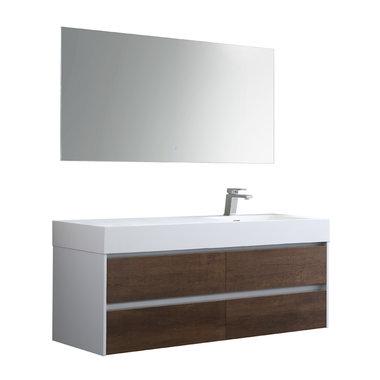 Badkamermeubelset met wastafel rechts incl. led spiegel Mailand ML-1400 Donker eiken houtkleur 140x48cm - StoneArt rechts