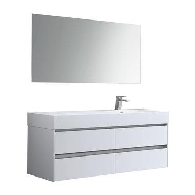 Badkamermeubelset met wastafel rechts incl. led spiegel Mailand ML-1400 Hoogglans Wit 140x48cm - StoneArt rechts