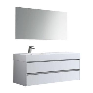 Badkamermeubelset met wastafel links incl. led spiegel Mailand ML-1400 Mat Wit 140x48cm - StoneArt links