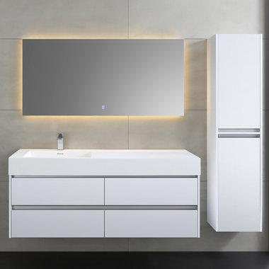 Badkamermeubel met wastafel Mailand ML-1400 Hoogglans Wit 140x48cm - StoneArt links