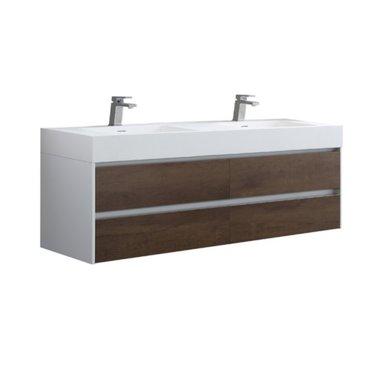 Badkamermeubel met 2 wastafels Mailand ML-1600 Donker eiken houtkleur 160x48cm - StoneArt