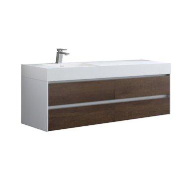 Badkamermeubel met wastafel Mailand ML-1600 Donker eiken houtkleur 160x48cm - StoneArt links