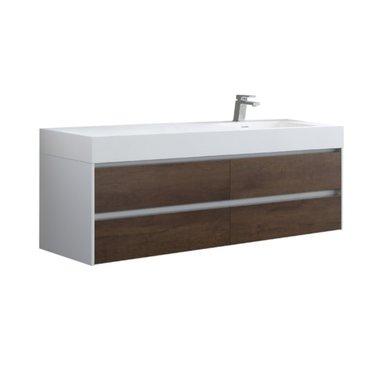 Badkamermeubel met wastafel Mailand ML-1600 Donker eiken houtkleur 160x48cm - StoneArt rechts