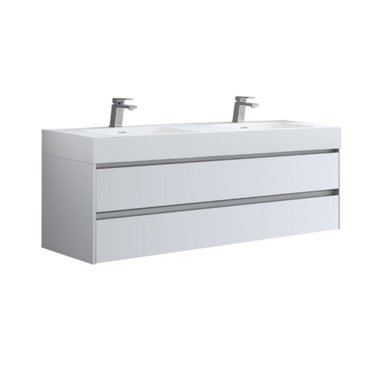 Badmeubel met 2 wastafels EAGO Mailand ML-1600 Hoogglans Wit 160x48