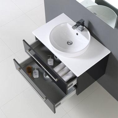 Badkamermeubelset wastafel incl. waskom Neapel NA-0800 wit 80x47 wastafelblad wit - Neapel StoneArt