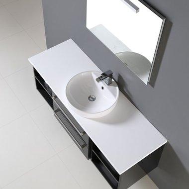 Badkamermeubelset wastafel incl. waskom Neapel NA-1400 wit 140x47 wastafelblad wit - Neapel StoneArt