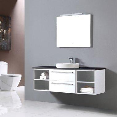 Badkamermeubelset met waskom EAGO Neapel NA-1400 wit-zwart 140x47