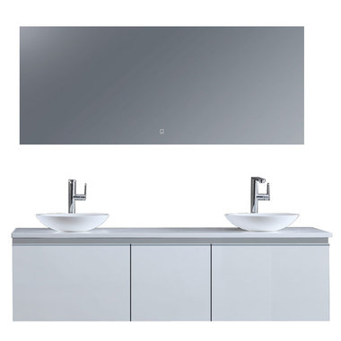 Badkamermeubelset 160x45x48cm Wit incl. spiegel - Milano 1600pro4 STONEART