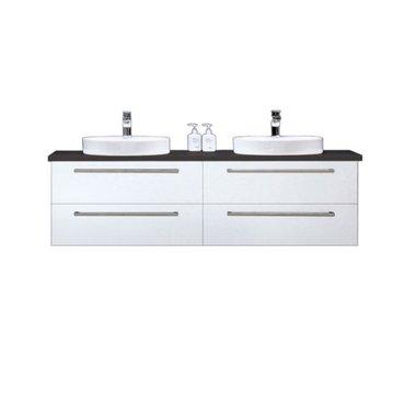 Badkamermeubelset wastafel incl. waskom Neapel NA-1600 wit 160x47 wastafelblad zwart - Neapel StoneArt