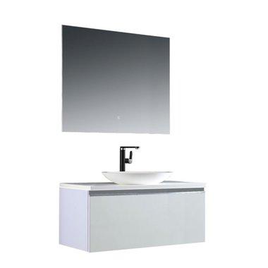 Badkamermeubelset 100x45x48cm Wit incl. spiegel - Milano 1000pro3 STONEART