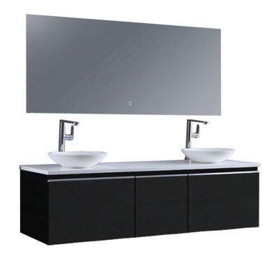 Badkamermeubelset 160x45x48cm Donker grijs incl. spiegel - Milano 1600pro4 STONEART