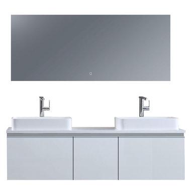 Badkamermeubelset 160x45x48cm Wit incl. spiegel - Milano 1600pro5 STONEART