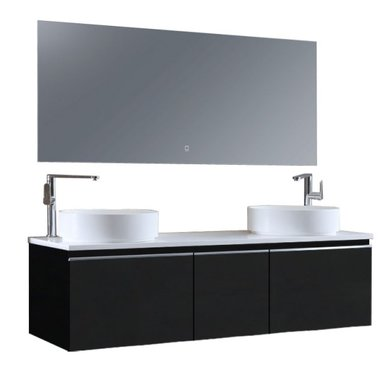 Badkamermeubelset 160x45x48cm Donker grijs incl. spiegel - Milano 1600pro6 STONEART
