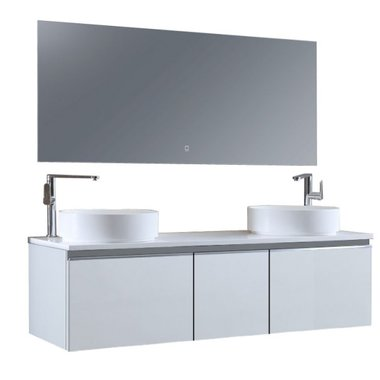 Badkamermeubelset 160x45x48cm Wit incl. spiegel - Milano 1600pro6 STONEART
