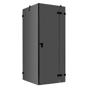 Douchecabine zwart 90x90cm deur rechts zonder frame - LAS0900-B EAGO