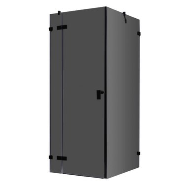 Douchecabine zwart 90x90cm deur links zonder frame - LAS0900-B EAGO