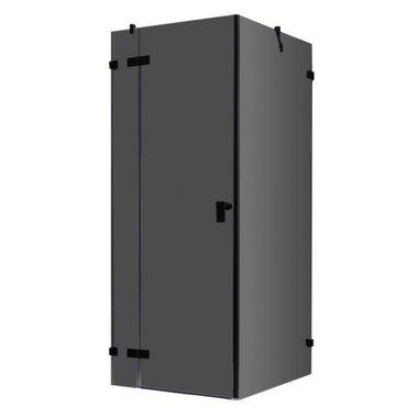 Douchecabine zwart 100x100cm deur links zonder frame - LAS1000-B EAGO