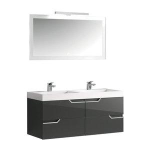 Badkamermeubel met wastafel en LED spiegel hoogwaardig gelakt MDF Grijs - EAGO Barcelona