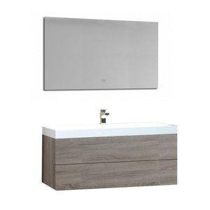 Badkamermeubel licht eiken houtkleur met mineraal gegoten wastafel en LED spiegel hoogwaardig gelakt MDF - EAGO Brugge