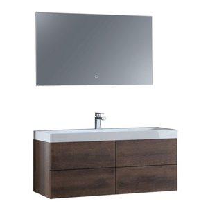 Badkamermeubel donker eiken houtkleur met mineraal gegoten wastafel en LED spiegel hoogwaardig gelakt MDF - EAGO Brugge